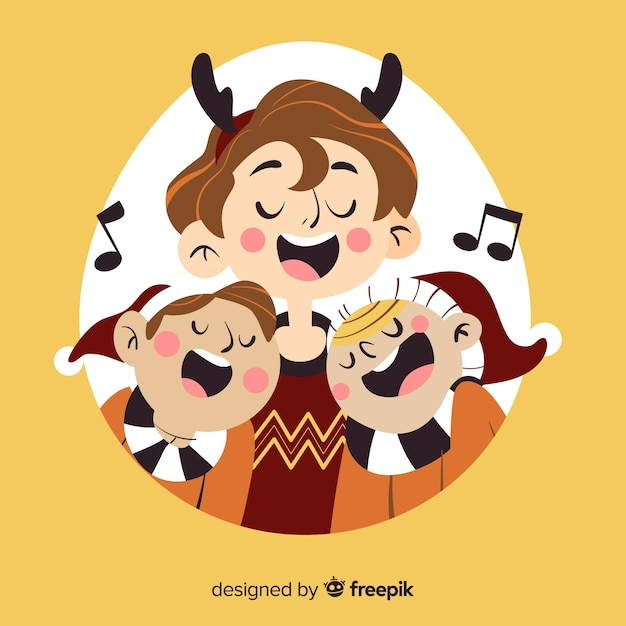 Christmas Singing Images.People Singing Christmas Illustration Vector Free Download