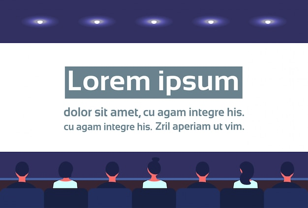 People sit cinema hall back rear view looking screen business video presentation waiting movie Premium Vector