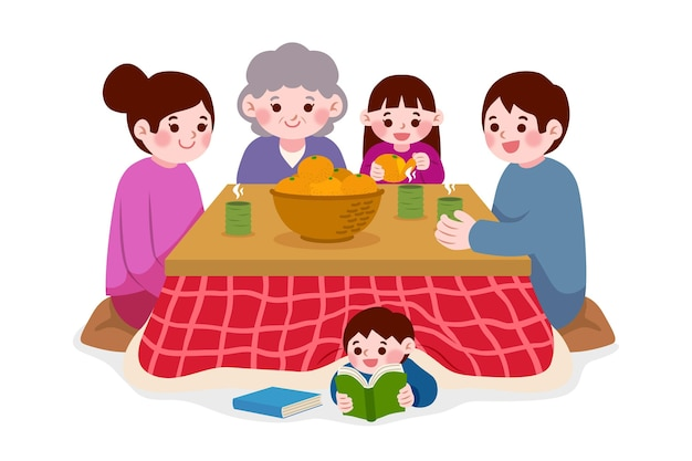 People sitting around a kotatsu table and child reading Free Vector