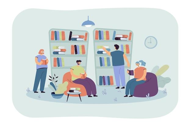 책장에 앉아 서점에서 책을 읽는 사람들. 도서관에서 공부하는 학생 무료 벡터