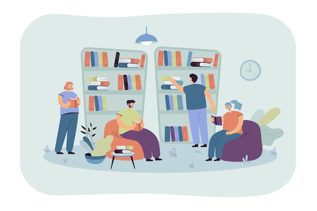 People sitting at bookshelves and reading books in bookstore. students studying in library Free Vector