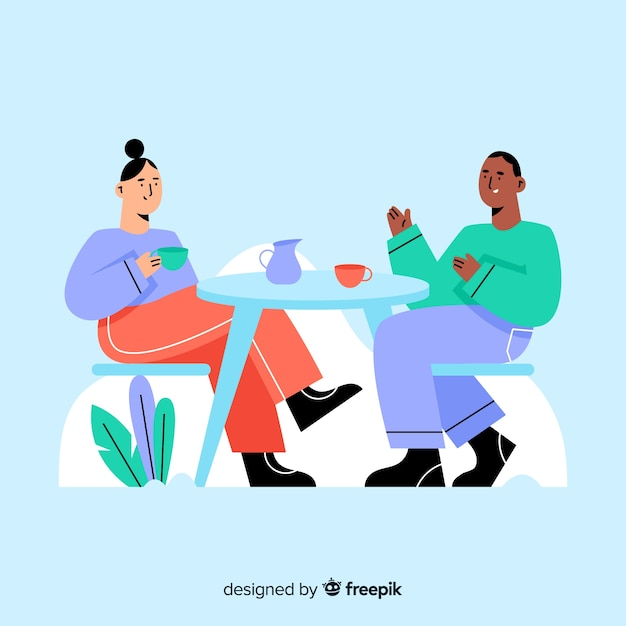 People sitting at café flat design Free Vector