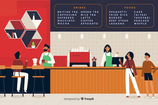 People sitting at cafe in flat design Free Vector