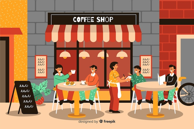 People sitting at a cafe Free Vector