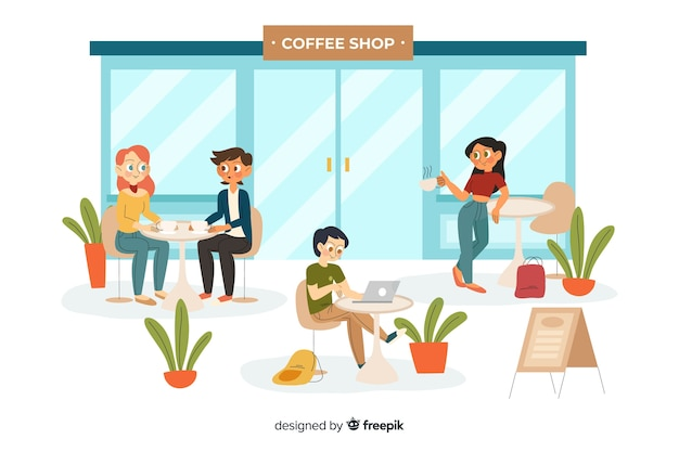 People sitting at the cafe Free Vector