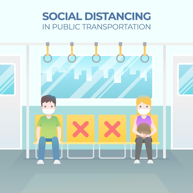 People sitting far from each other social distancing concept Premium Vector