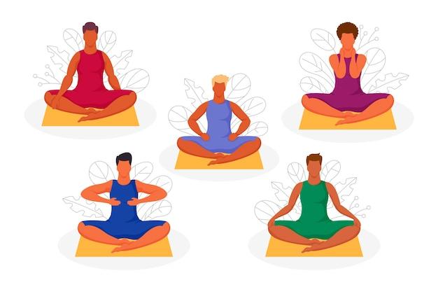 Le persone sedute nella posizione del loto si auto-guarigione con pose reiki Vettore gratuito