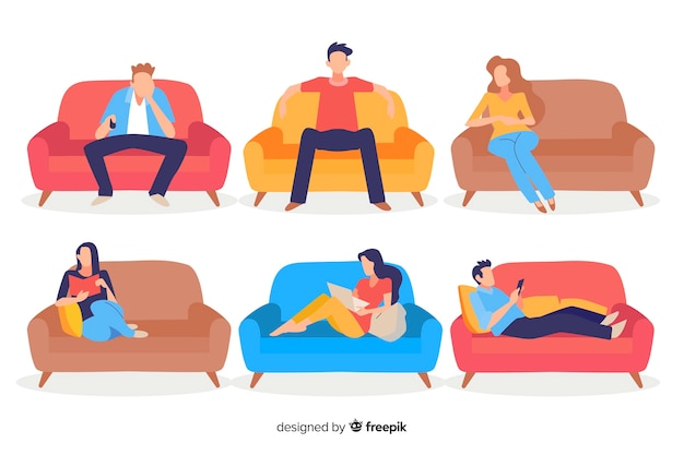 People sitting on a sofa Free Vector