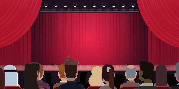People sitting at theater or in cinema looking at stage with red curtains waiting for performance st Premium Vector