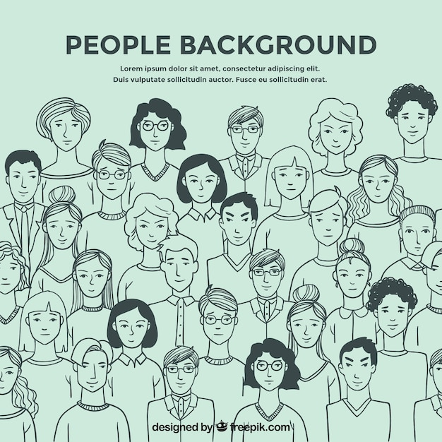 People sketches background Free Vector