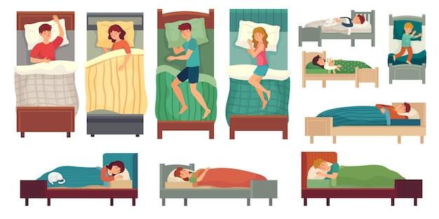 ベッドで寝ている人。ベッドで大人の男性、眠っている女性と幼児の睡眠イラストセット。 Premiumベクター