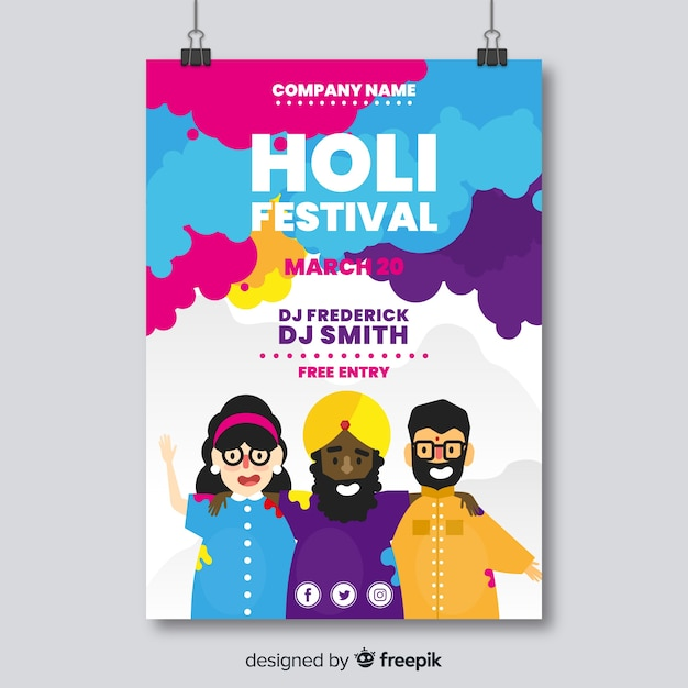 People smiling holi party poster Free Vector