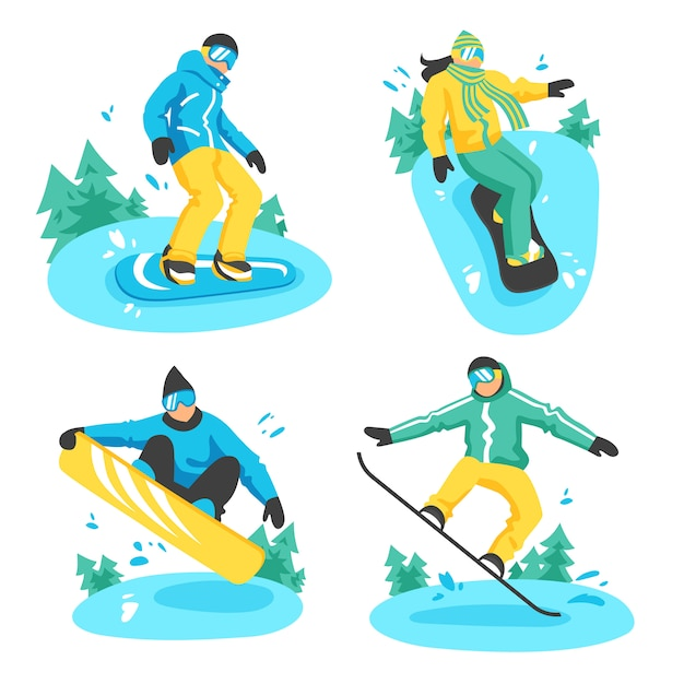 People on snowboard compositions Free Vector