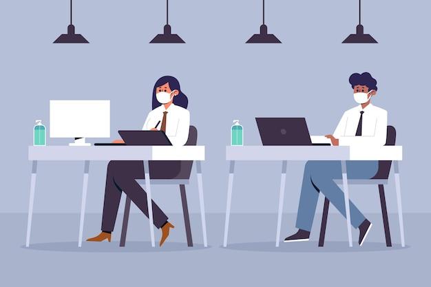 図解されたオフィスでの社会的距離の人々 無料ベクター