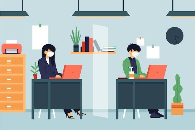 仕事で社会的距離を隔てる人々 無料ベクター