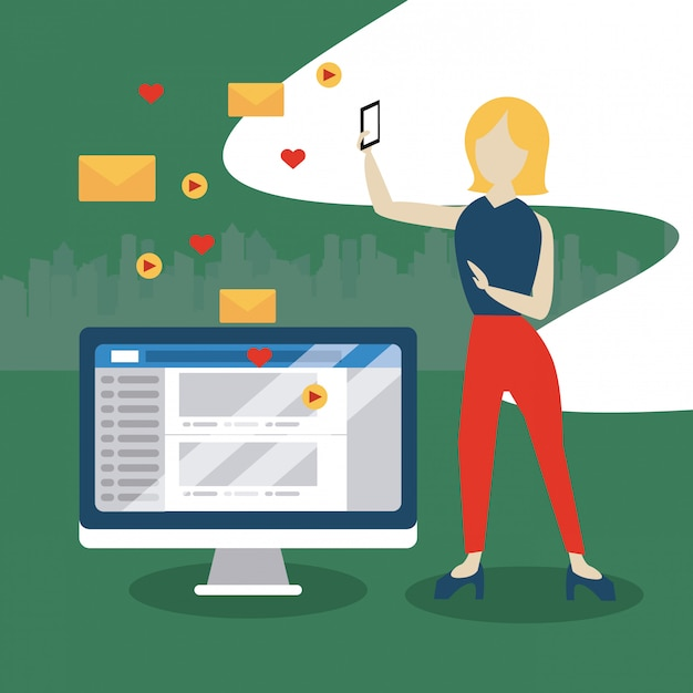 People and social media and network Premium Vector