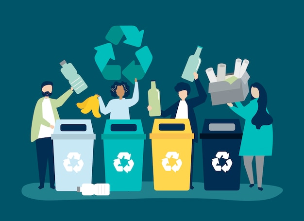 People sorting garbage for recycling Free Vector