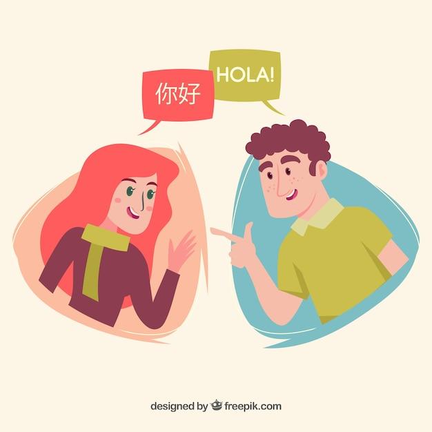 Люди, говорящие на разных языках с плоским дизайном Premium векторы