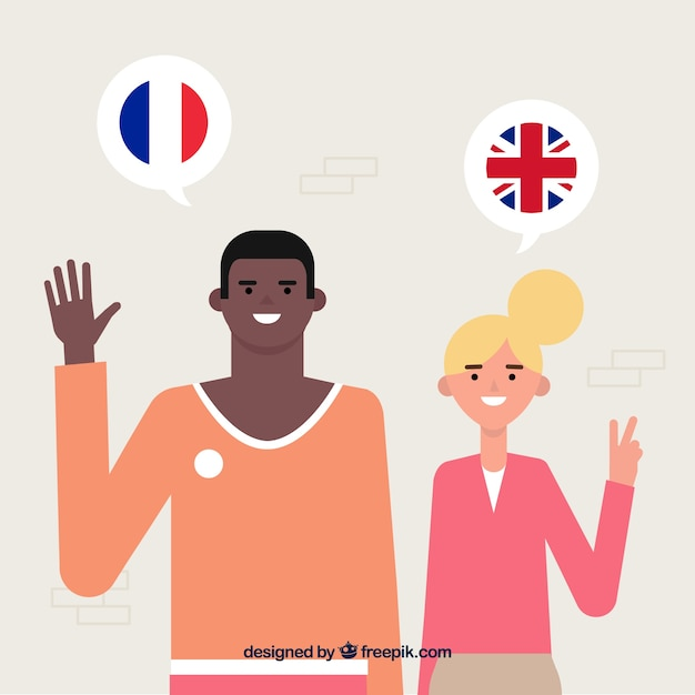 People speaking different languages with flat design Free Vector