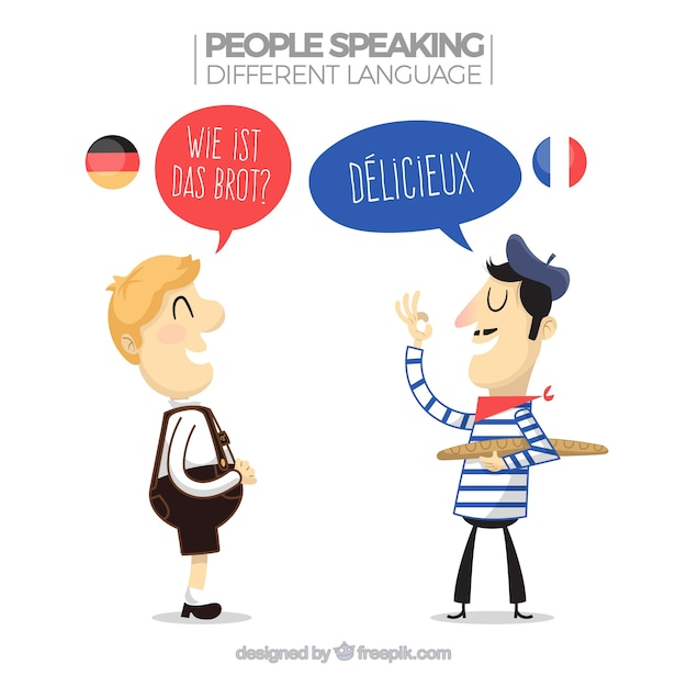 People speaking different languages Free Vector