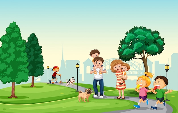 People spend holiday in the park Free Vector