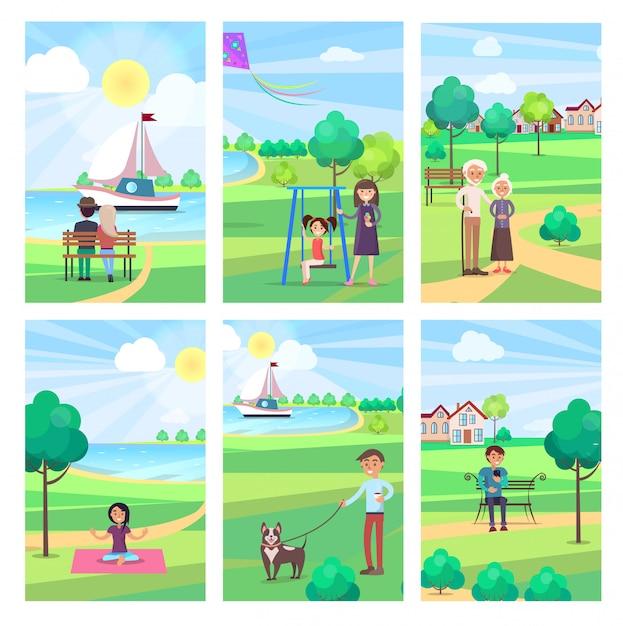 People spending free time in park illustration Premium Vector