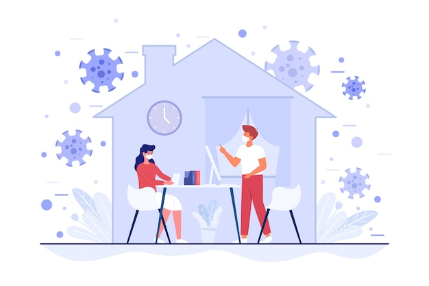 People spending time indoors curfew concept Free Vector