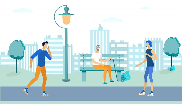 People spending time in park outdoor, lifestyle. Premium Vector