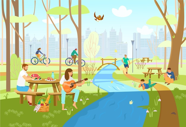 People in spring city park having picnic, riding bikes, running, playing guitar, taking photos, enjoying nature. park scene with picnic tables, river with bridge, city silhouette. cartoon . Premium Vector
