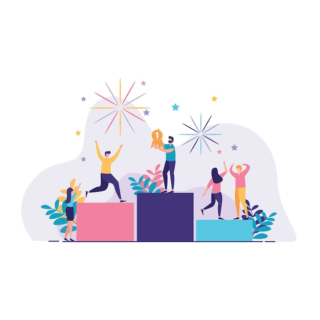 People stand on the first podium illustration Premium Vector
