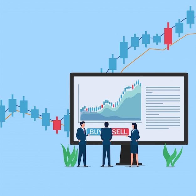 画面の前に立つ人々は、売買の決定を待っている株式取引チャートを表示します。 Premiumベクター