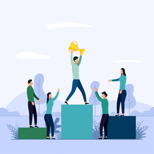 People stand on the podium first Premium Vector