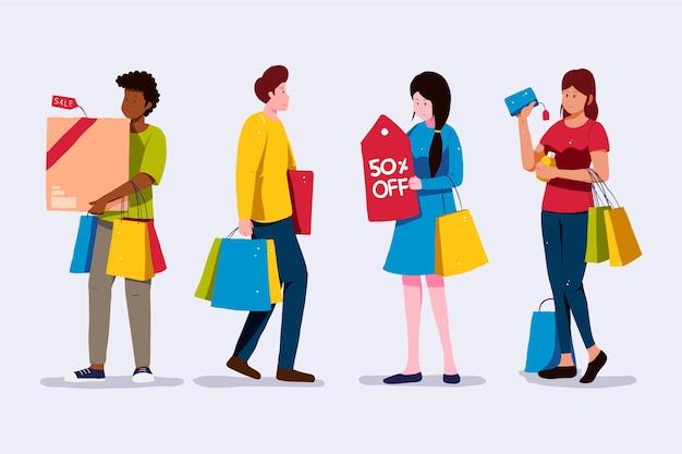 서서 쇼핑백을 들고있는 사람들 무료 벡터