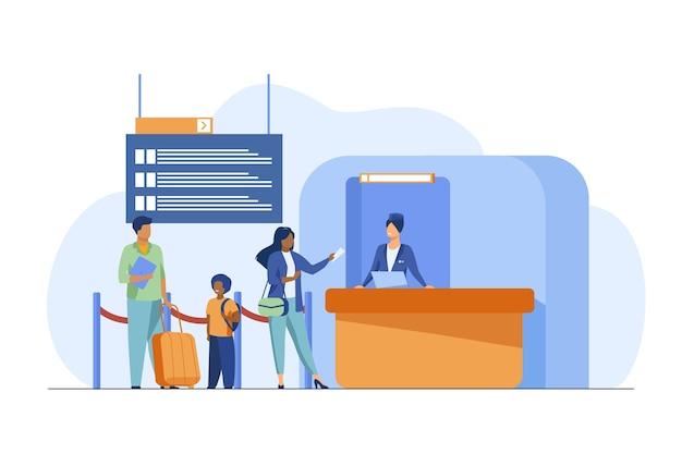 Persone in piedi al banco di registrazione del volo. famiglia, bagaglio, biglietto piatto illustrazione vettoriale. viaggi e vacanze Vettore gratuito