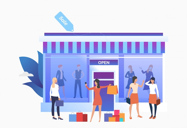 People standing and holding bags near shop front Free Vector