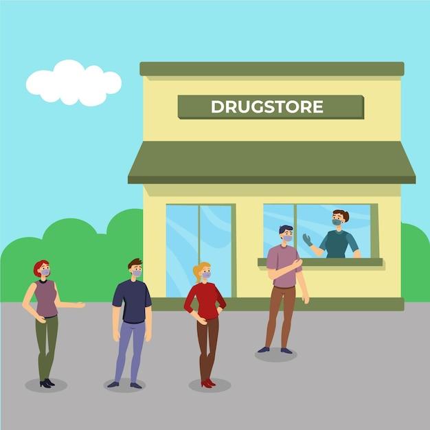 Люди стоят в очереди в магазине Бесплатные векторы