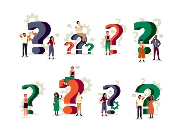 Люди, стоящие в сомнении с большим знаком вопроса. вопросы-ответы Premium векторы