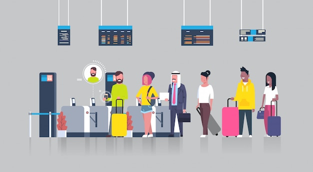 People standing in queue with suitcases for checking in airport passing through security scanner for registration Premium Vector