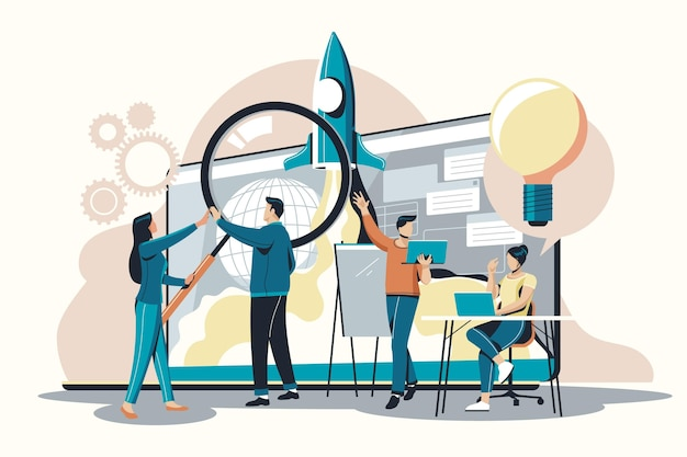 People starting a business project Free Vector