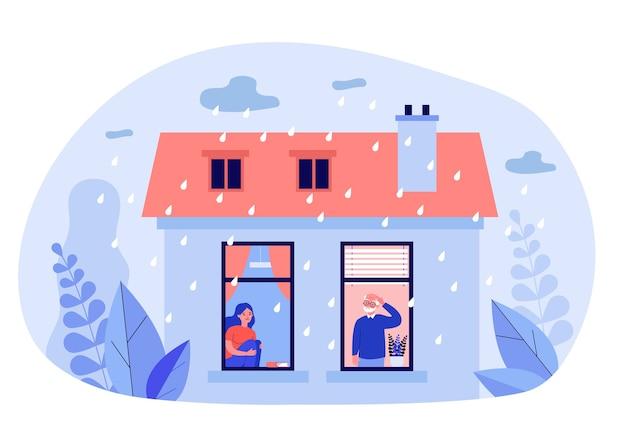 雨天時に家にいる人 Premiumベクター