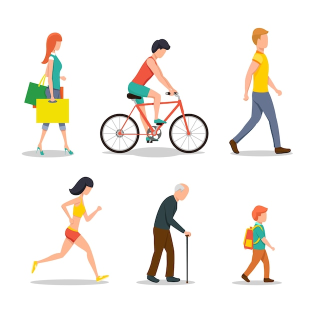 People on street in flat style Free Vector