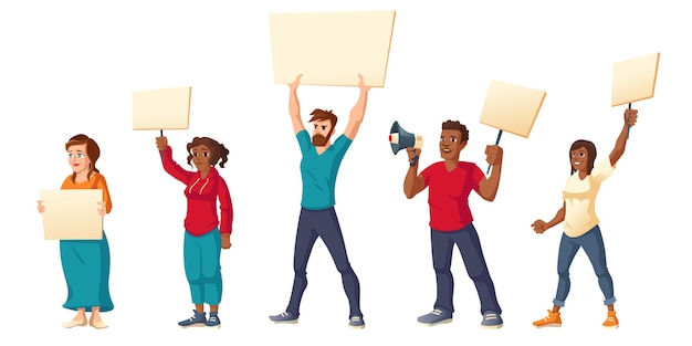 People strike, angry men and women with placards protest on rally demonstration. Free Vector