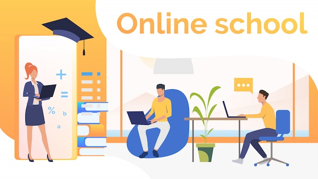 People studying at online school and graduation cap Free Vector