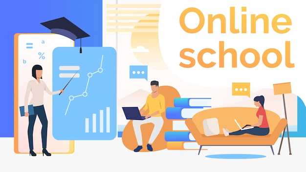 People studying at online school, home interior and teacher Free Vector
