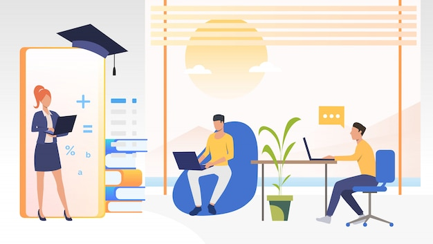 People studying at online school in office or at home Free Vector