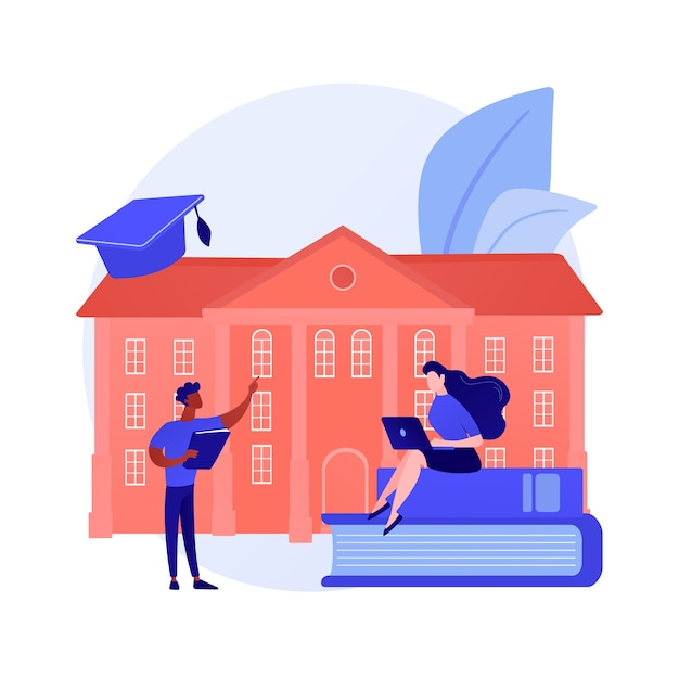 People studying remotely, e learning. home education, distance learning, online college Free Vector