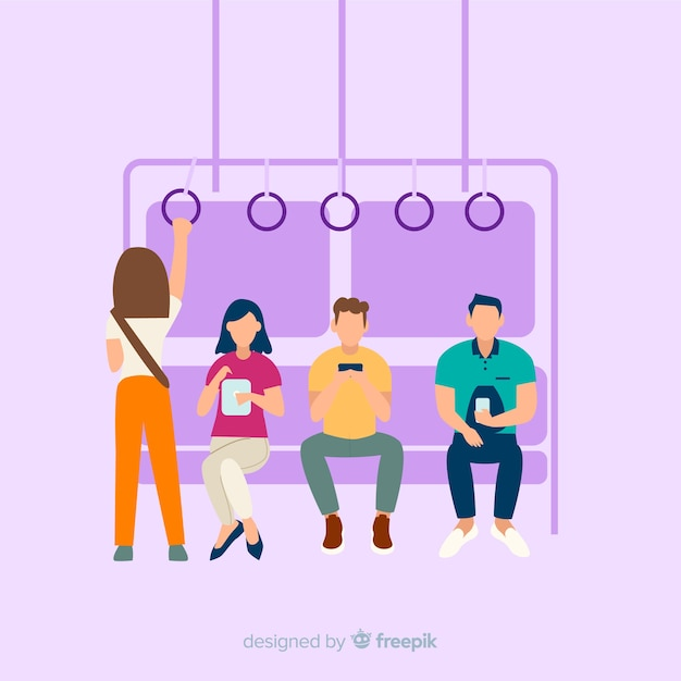People on the subway background Free Vector