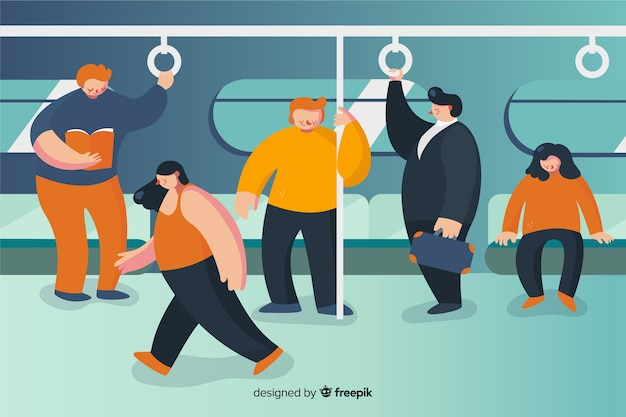 People on the subway flat design Free Vector