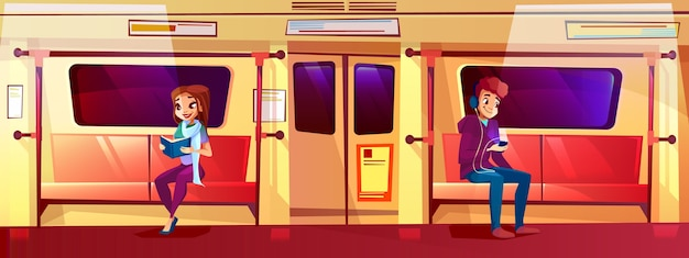 People in subway train illustration of teen boy and girl in metro. Free Vector