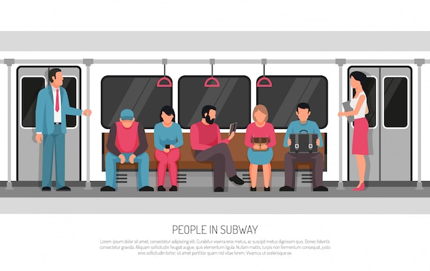 People subway transport poster Free Vector